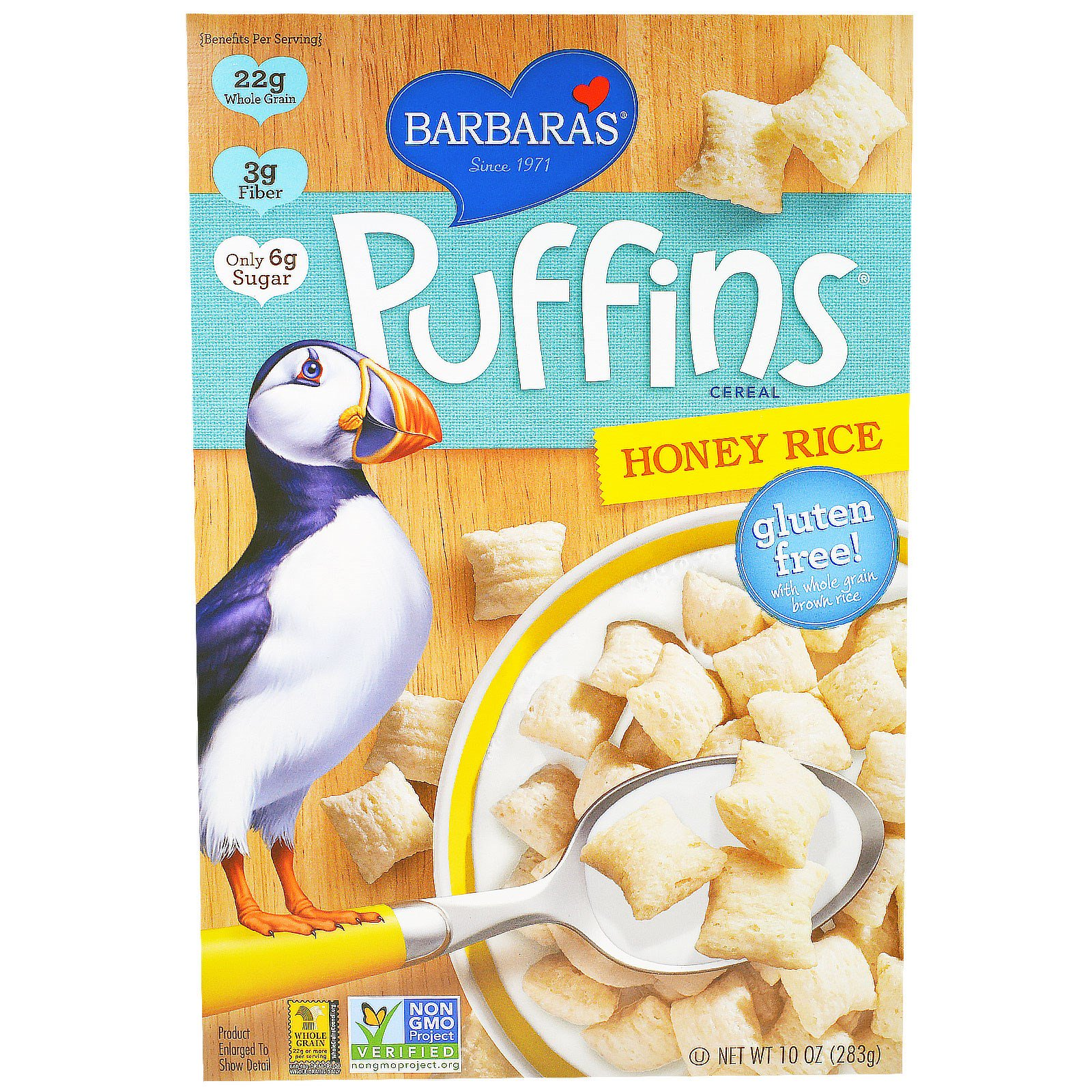 Barbara's Bakery, Puffins Cereal, Honey Rice, 10 Oz (283 G