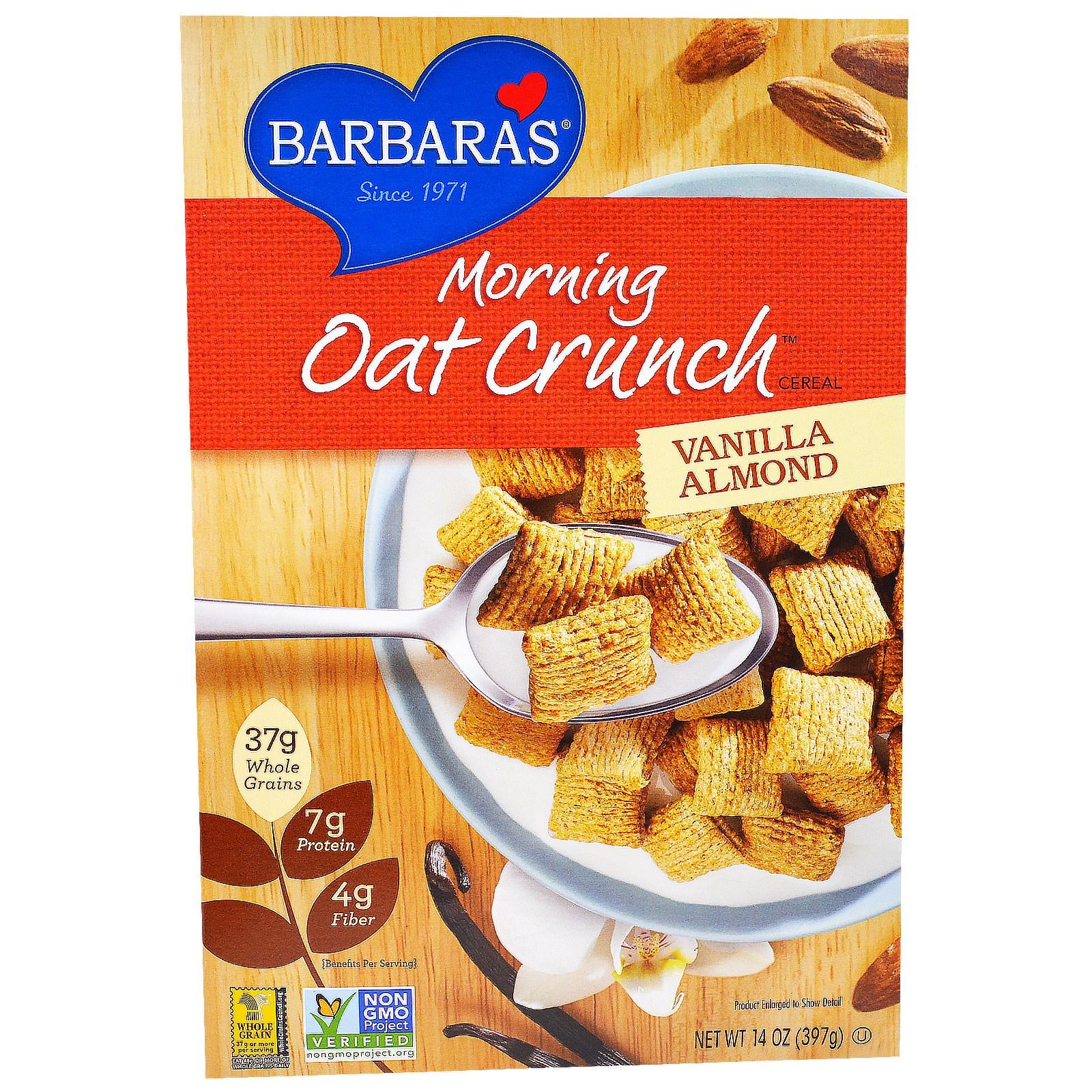 Barbara's Bakery, Хлопья «Утренний овсяный хруст», ваниль и миндаль, 14 унции (397 г)