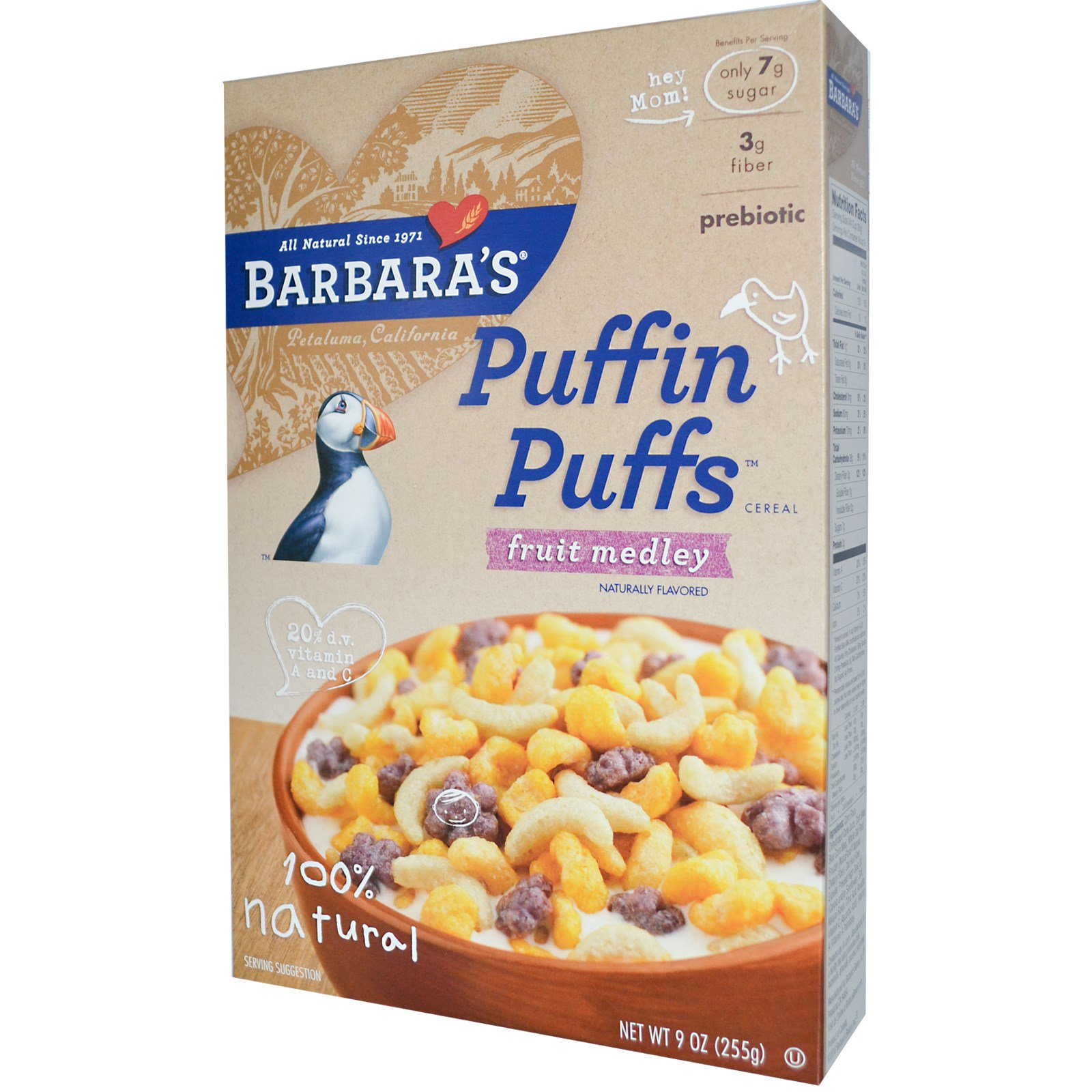 Barbara's Bakery, Puffin Puffs Cereal, Fruit Medley, 9 Oz