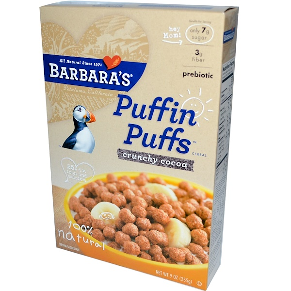 Barbara's Bakery, Puffin Puffs Cereal, Crunchy Cocoa, 9 oz (255 g) (Discontinued Item)