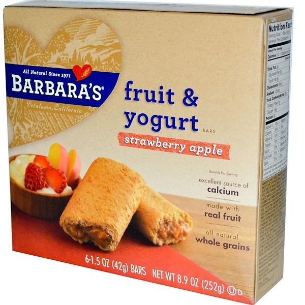 Barbara's Bakery, Fruit & Yogurt Bars, Strawberry Apple, 6 Bars, 1.5 oz (42 g) Each (Discontinued Item)