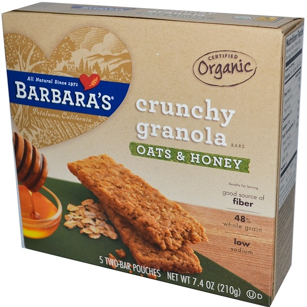 Barbara's Bakery, Certified Organic, Crunchy Granola Bars, Oats & Honey, 5 Two Bar Pouches, 42 g Each (Discontinued Item)