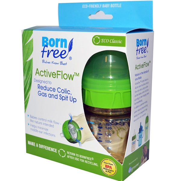 Born Free, ActiveFlow Bottles, 0+ Months, 2 Bottles with Level 1 Nipples, 5 oz (150 ml) Each (Discontinued Item)