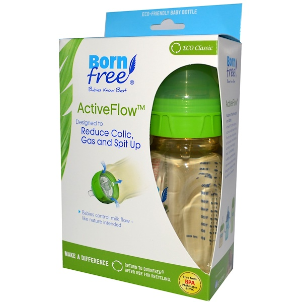 Born Free, ActiveFlow Bottles with Level 1 Nipples, 0+ Months, Twin Pack, 9 oz (260 ml) Each (Discontinued Item)