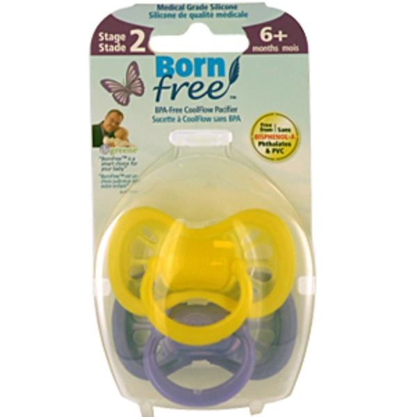 Born Free, CoolFlow Pacifiers, 6+ months, Stage 2, 2 Pack (Discontinued Item)