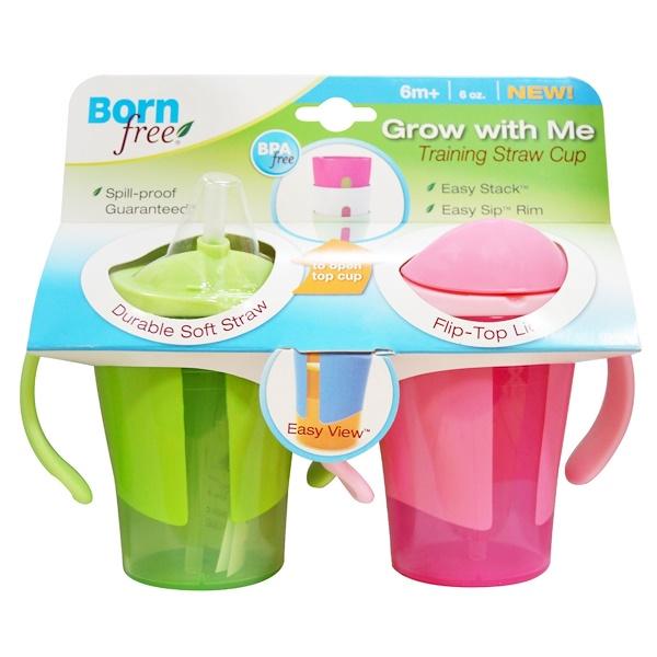 """Born Free, Чашка с соломинкой """"Растем вместе"""" для обучения питью, зеленая и розовая, 2 чашки по 180 мл (Discontinued Item)"""
