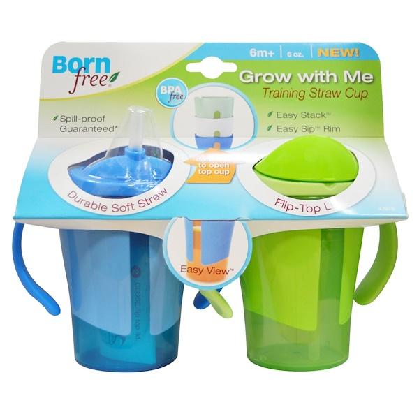 """Born Free, Чашка с соломинкой """"Растем вместе"""" для обучения питью, синяя и зеленая, 2 чашки по 180 мл (Discontinued Item)"""