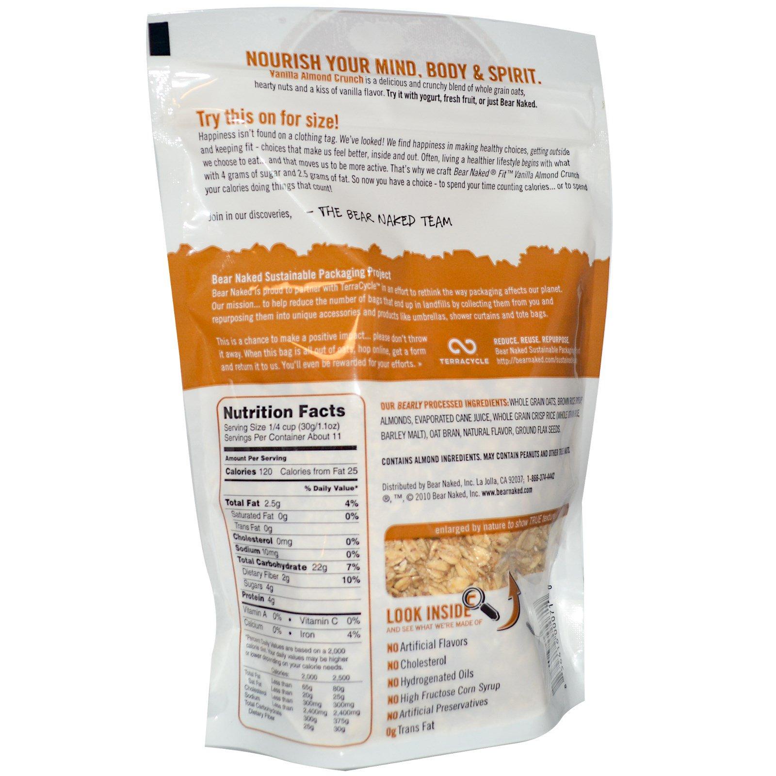 Bear Naked, Fit , 100% натуральная гранола, ваниль и миндаль 12 унции (340 г)