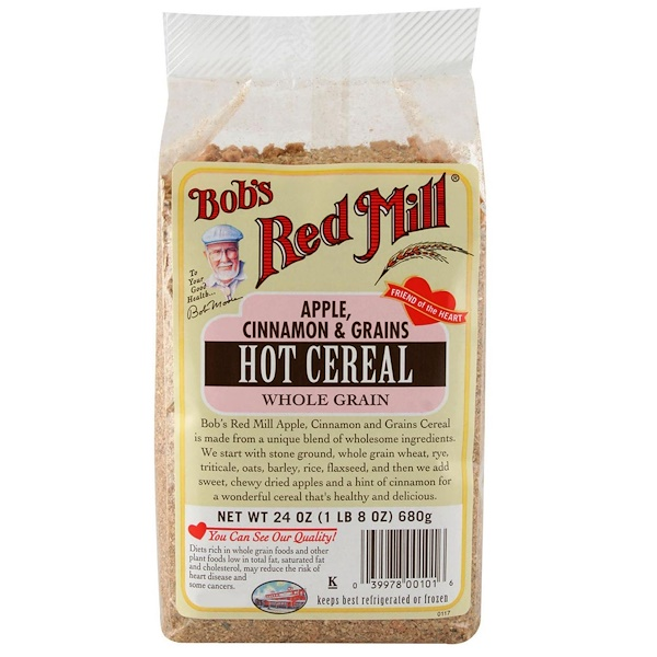 Bob's Red Mill, Hot Cereal Whole Grain, Apple, Cinnamon & Grains, 24 oz (680 g) (Discontinued Item)