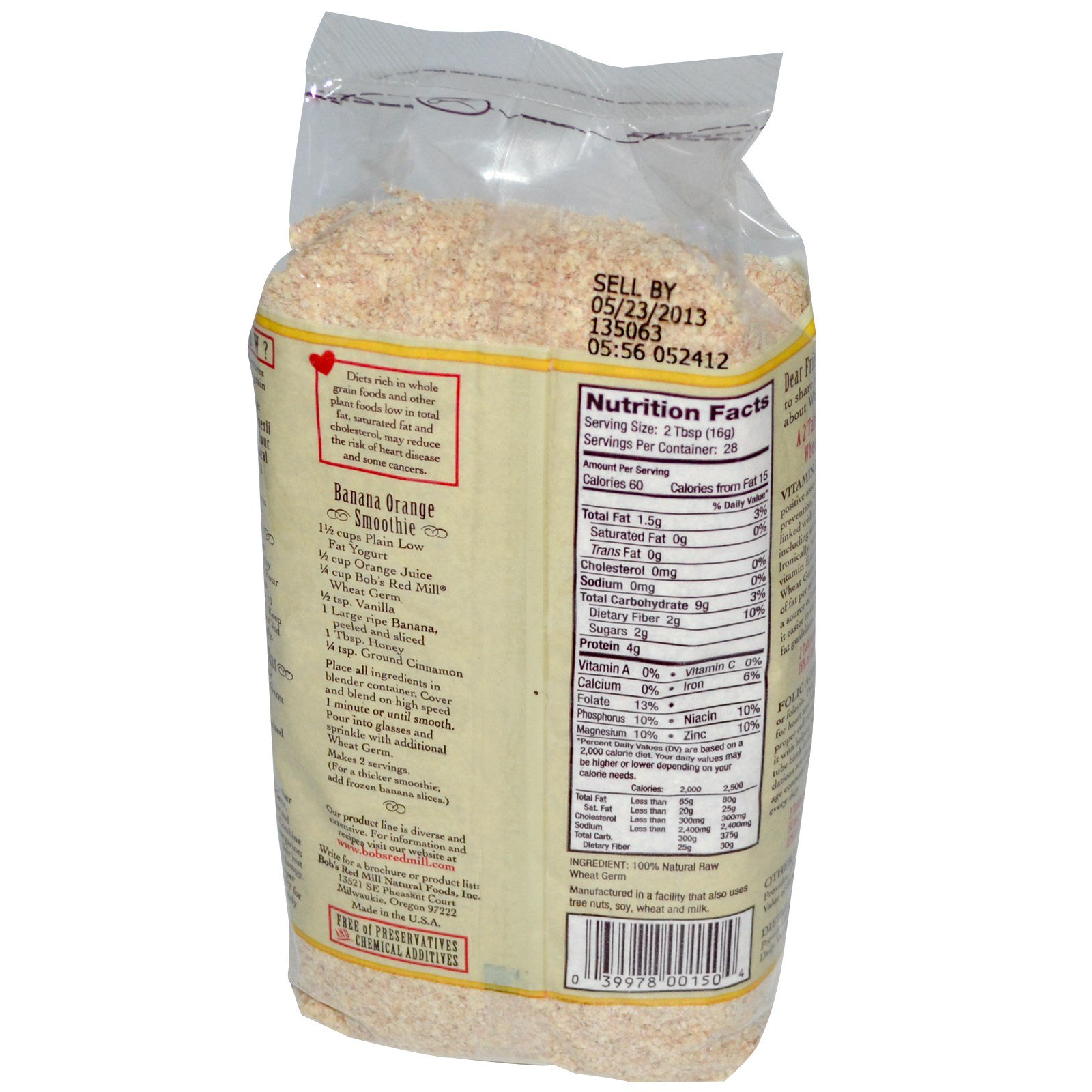 Bob's Red Mill, Natural Raw Wheat Germ, 16 oz (453 g) (Discontinued Item)