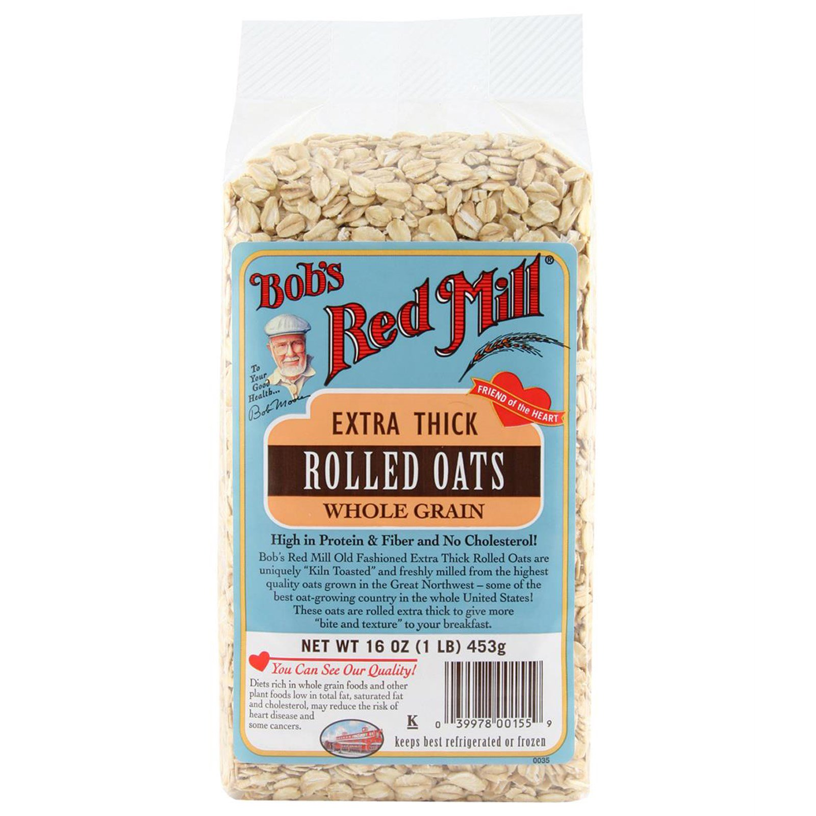 Bob's Red Mill, Экстра-толстая плющенная овсяная крупа, цельное зерно, 453 г