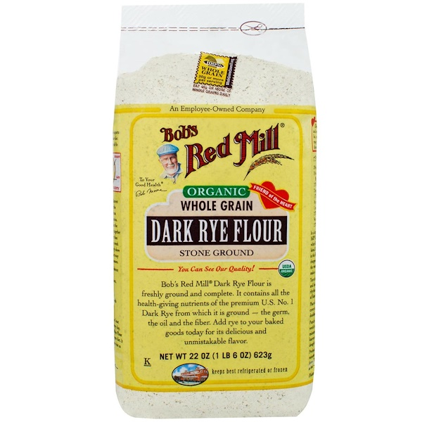 Bob's Red Mill, Organic Dark Rye Flour, Whole Grain, 22 oz (623 g) (Discontinued Item)