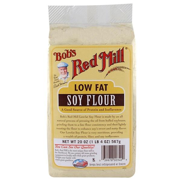 Bob's Red Mill, Соевая мука с низким содержанием жира, 20 унций (567 г) (Discontinued Item)