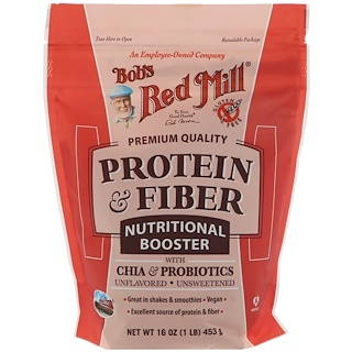 Bob's Red Mill, Protein & Fiber, Nutritional Booster with Chia & Probiotics, Unflavored, 16 oz (453 g)