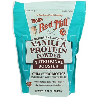 Bob's Red Mill, Vanilla Protein Powder, Nutritional Booster with Chia & Probiotics, 16 oz (453 g)