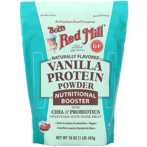 Bob's Red Mill, Vanilla Protein Powder, Nutritional Booster with Chia & Probiotics, 16 oz (453 g) (Discontinued Item)