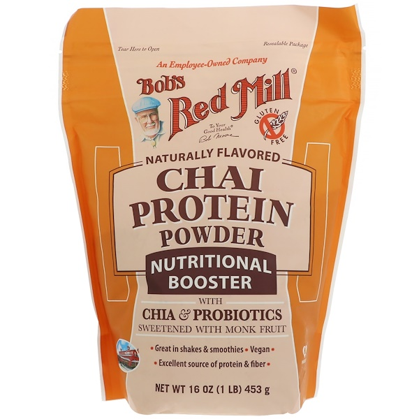 Bob's Red Mill, Chai Protein Powder, Nutritional Booster with Chia & Probiotics, 16 oz (453 g)