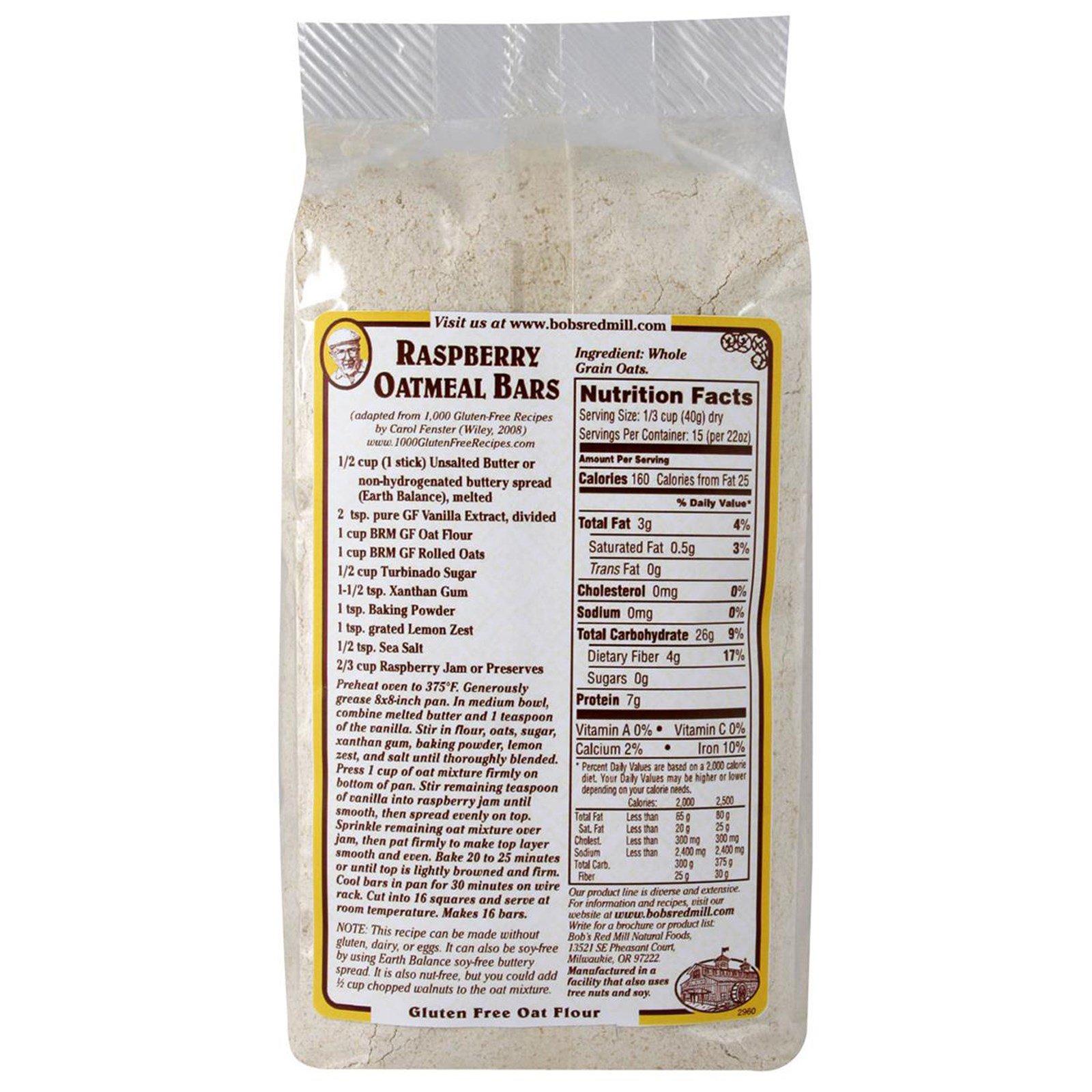 Bob's Red Mill, Whole Grain Oat Flour, Gluten Free, 22 oz