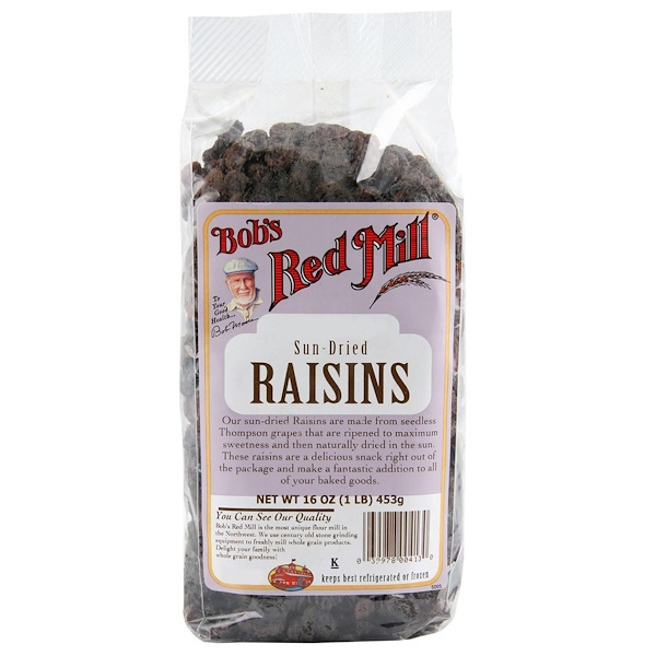 Bob's Red Mill, Passas de uvas secas ao sol, 453 g (Discontinued Item)