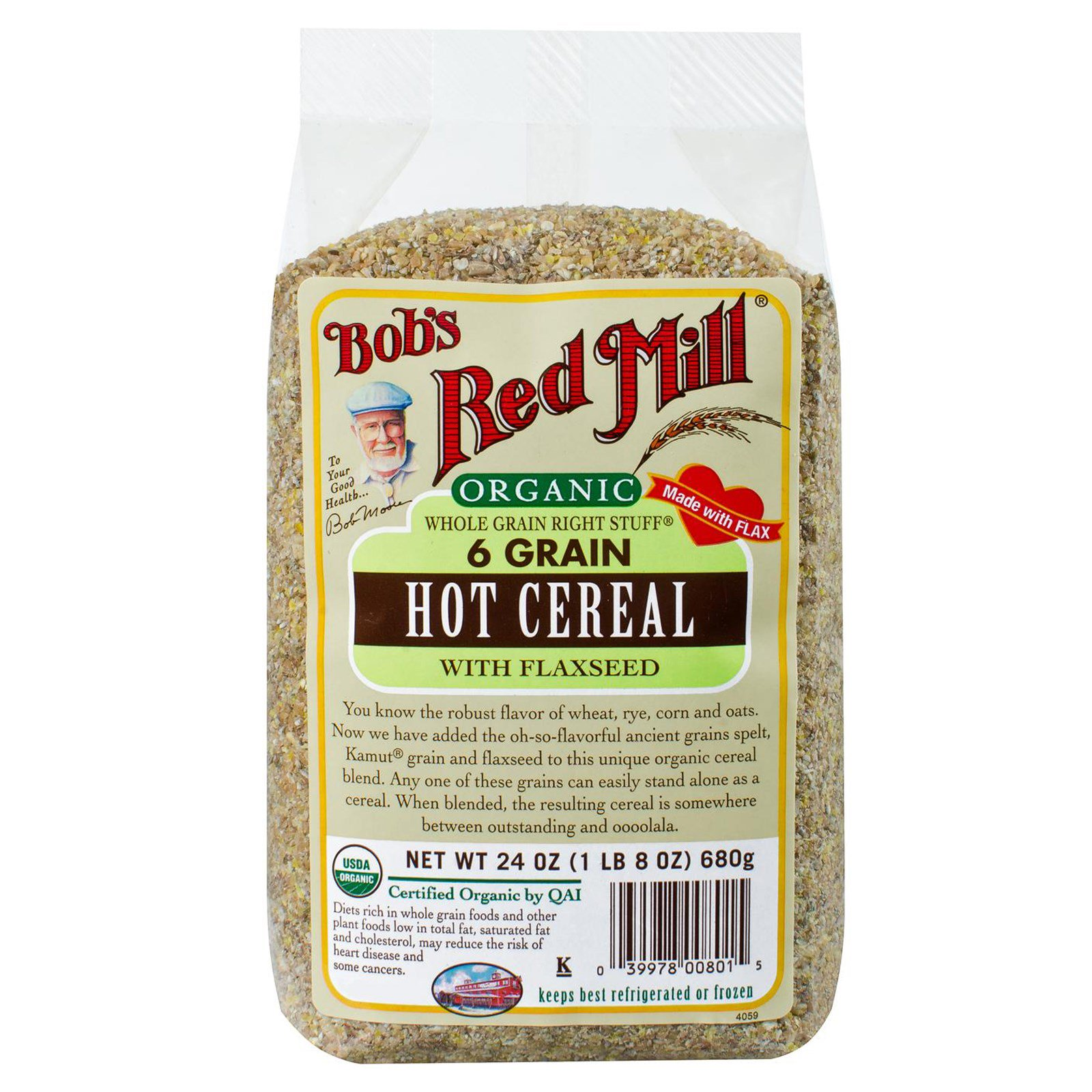 Bob's Red Mill, Органические, цельнозерновые популярные хлопья из 6 видов зерен, со льняным семенем, 24 унции (680 г)