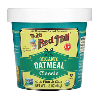 Bob's Red Mill, Organic Oatmeal Cup, Classic with Flax & Chia, 1.8 oz (51 g)