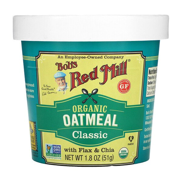 Organic Oatmeal Cup, Classic with Flax & Chia, 1.8 oz (51 g)