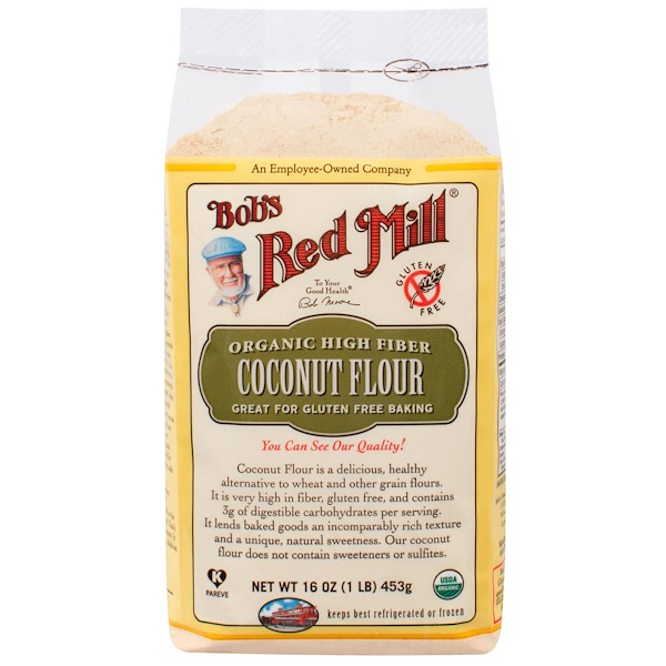 Bob's Red Mill, Organic High Fiber Coconut Flour, Gluten Free, 16 oz (453 g) (Discontinued Item)