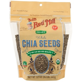 Bob's Red Mill, Oragnic Whole Chia Seeds, 12 oz (340 g)