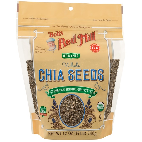 Bob's Red Mill, Semillas integrales orgánicas de Chía, 12 oz (340 g)