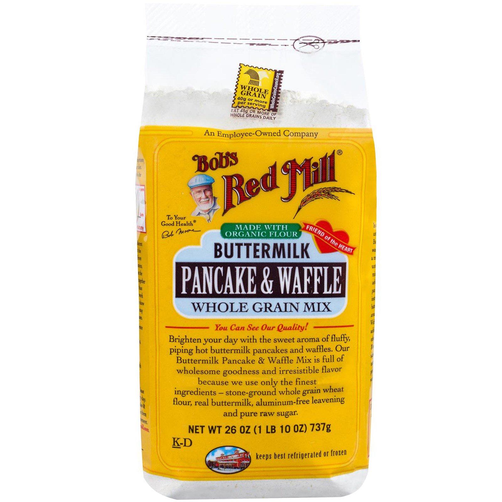 Bob's Red Mill, Bob's Red Mill, Блины и вафли из пахты, смесь из цельных зерен, 26 унций (1 фунт 10 унций) 737 г