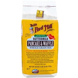 Bob's Red Mill, バターミルクパンケーキ & ワッフル, 全粒穀物ミックス, 26 oz (1 lb 10 oz) 737 g