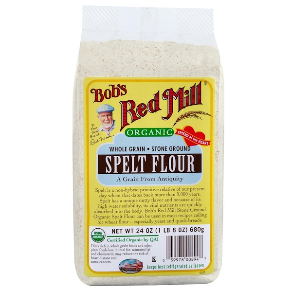Bob's Red Mill, Organic, Spelt Flour, Whole Grain, 1.5 lbs (680 g)