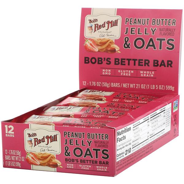 Bob's Red Mill, Bob's Better Bar, Peanut Butter Jelly & Oats, 12 Bars, 1.76 oz (50 g) Each