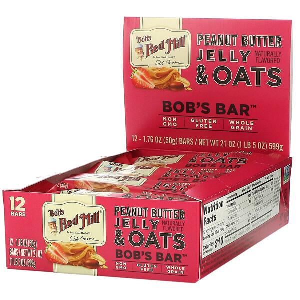 Bob's Red Mill, Bob's Bar, Peanut Butter Jelly & Oats, 12 Bars, 1.76 oz (50 g) Each (Discontinued Item)