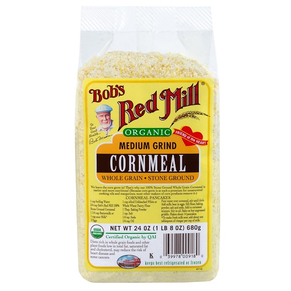 Bob's Red Mill, Organic, Medium Grind Cornmeal, 24 oz (680 g)
