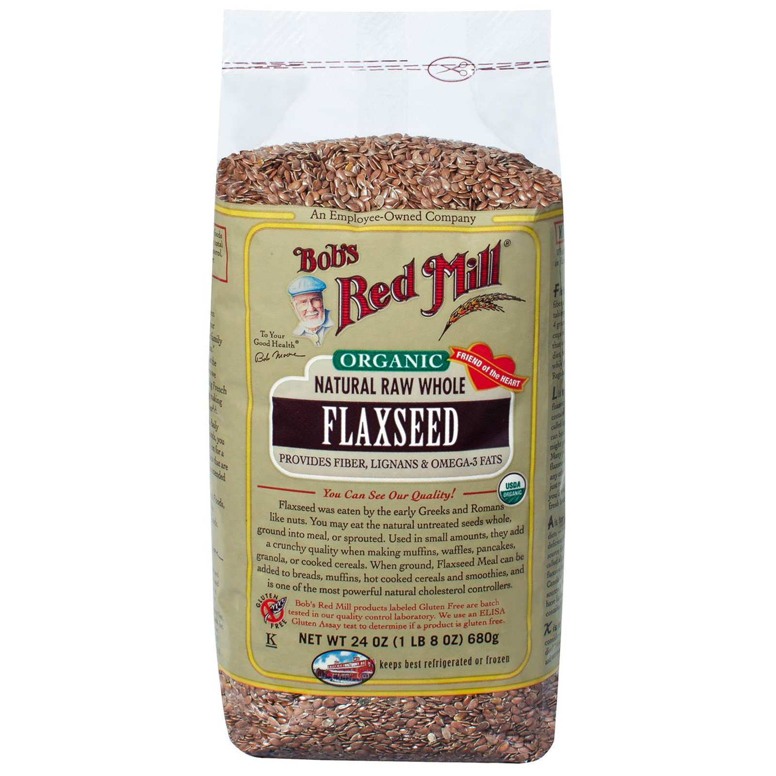 Bob S Red Mill Organic Natural Raw Whole Flax Seeds