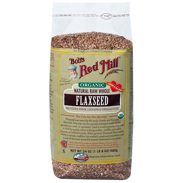 Bob's Red Mill, Organic Natural Raw Whole Flaxseeds, 24 oz (680 g) (Discontinued Item)