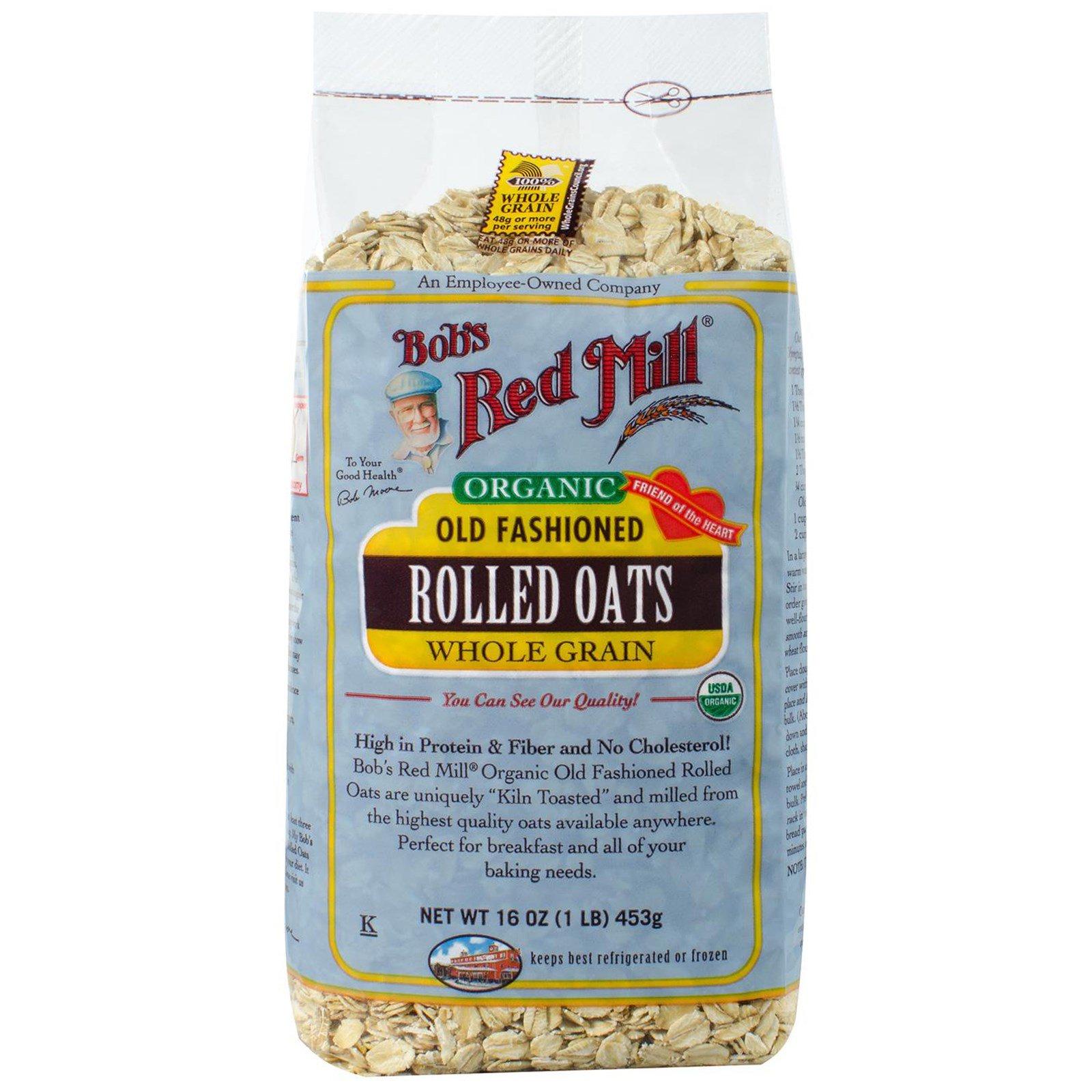Bob's Red Mill, Bob's Red Mill, Органичесская традиционная плющеная овсянка, цельное зерно, 453 г