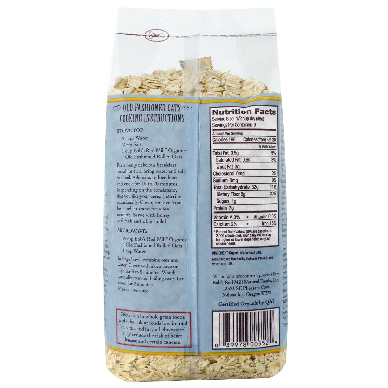 Bob S Red Mill Organic Old Fashioned Rolled Oats