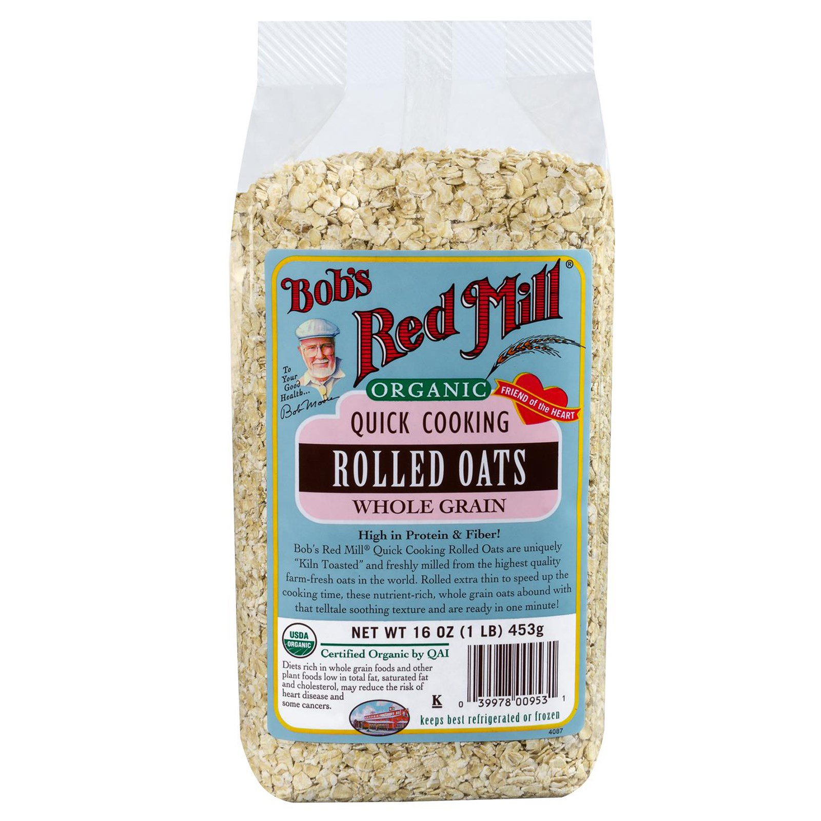 Bob's Red Mill, Organic Quick Cooking Rolled Oats, Whole Grain, 16 oz (453 g)