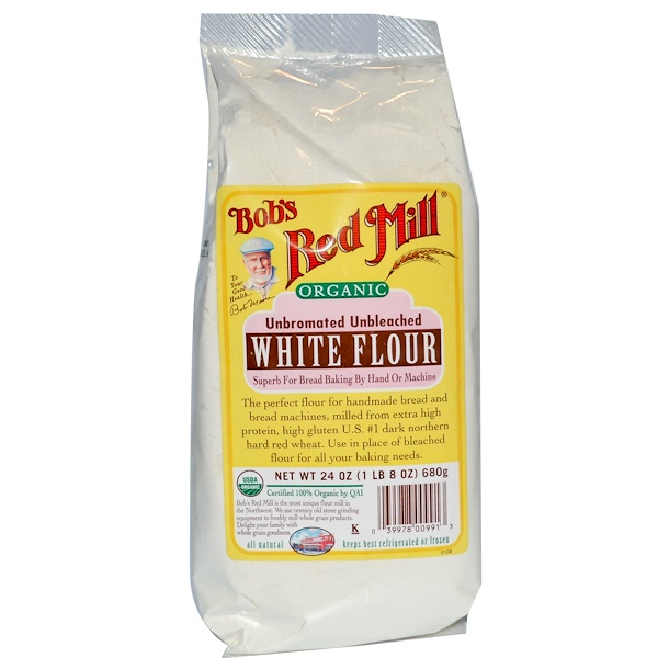 Bob's Red Mill, Organic, White Flour, Unbromated Unbleached, 24 oz (680 g) (Discontinued Item)