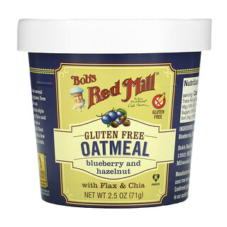 Bob's Red Mill, Oatmeal Cup, Blueberry and Hazelnut with Flax & Chia, 2.5 oz (71 g)