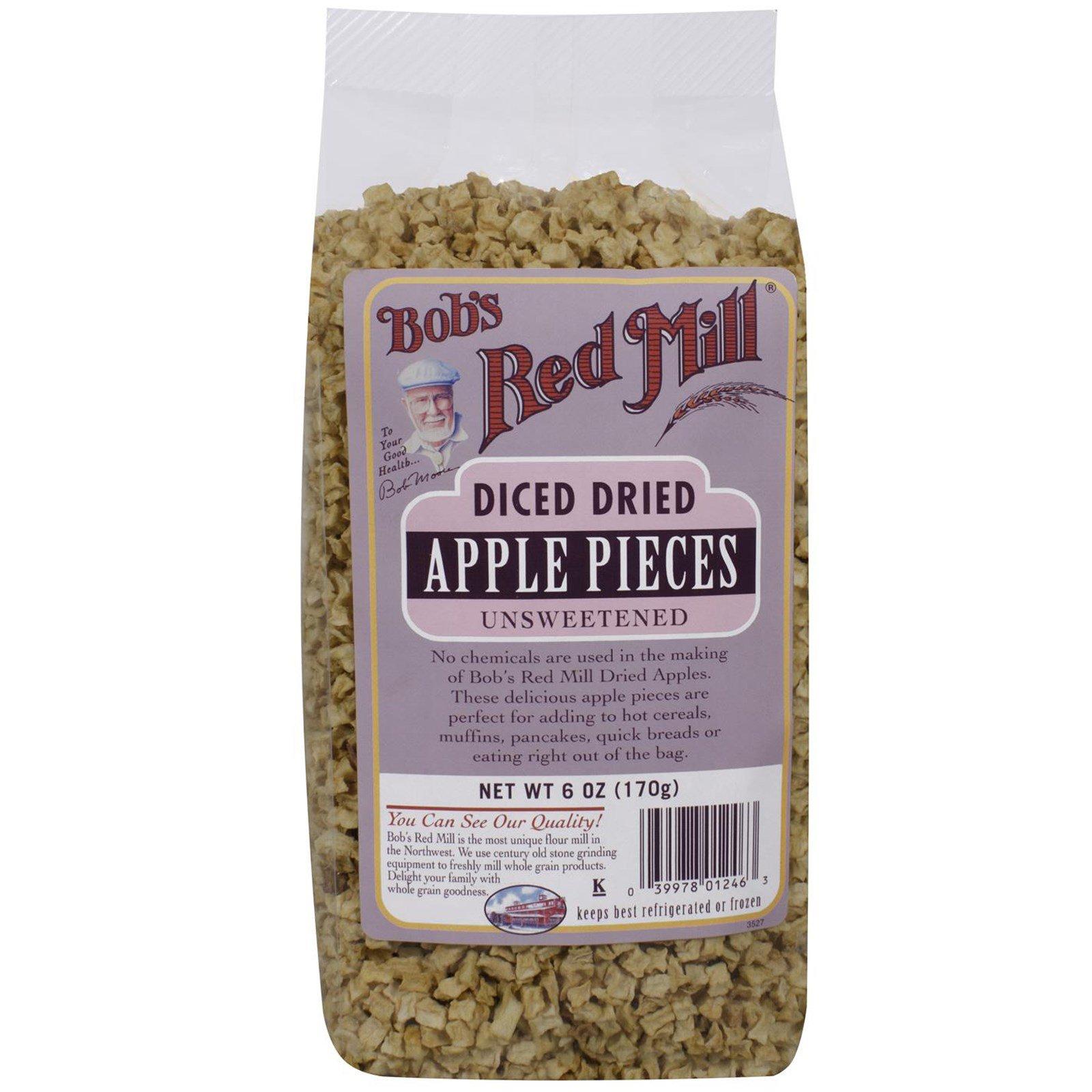Bob's Red Mill, Нарезанные кубики сушеных яблок, несладкие, 6 унций (170 г)