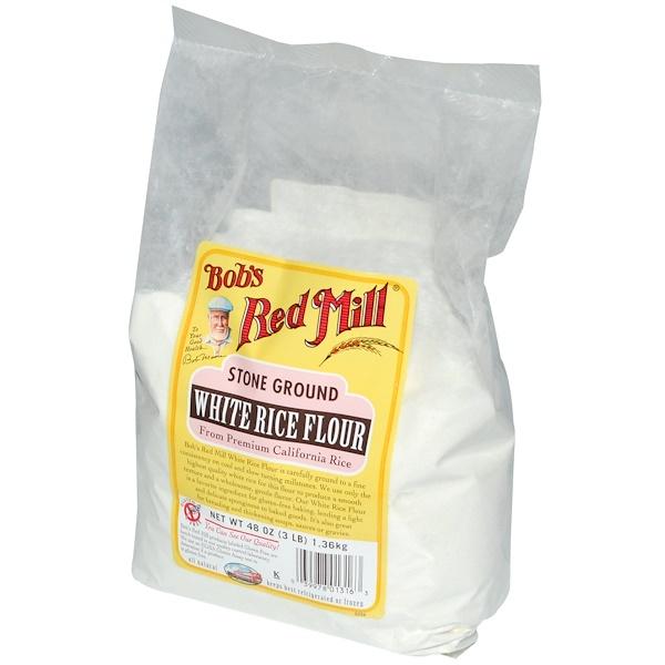 Bob's Red Mill, Stone Ground White Rice Flour, Gluten Free, 48 oz (1.36 kg) (Discontinued Item)