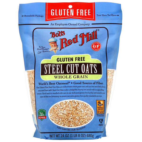 Steel Cut Oats, Whole Grain, Gluten Free, 24 oz (680 g)