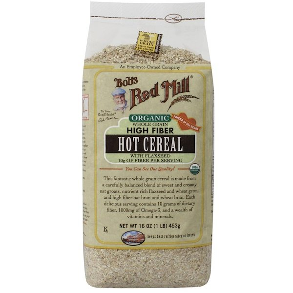 Bob's Red Mill, Organic Whole Grain High Fiber Hot Cereal with Flaxseed, 16 oz (453 g) (Discontinued Item)