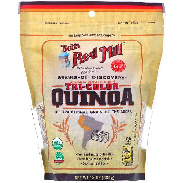 Bob's Red Mill, Organic Tri-Color Quinoa, Whole Grain, 13 oz (369 g)