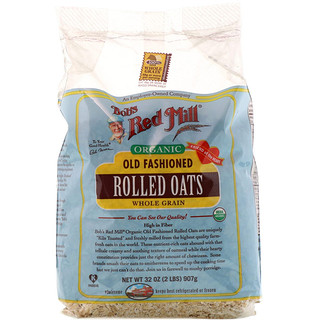 Bob's Red Mill, Organic Old Fashioned Rolled Oats, Whole Grain, 32 oz (2 lbs) 907 g