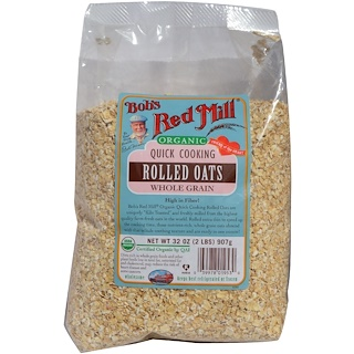 Bob's Red Mill, Organic Quick Cooking Rolled Oats, Whole Grain, 32 oz (2 lbs) 907 g
