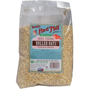 Бобс Рэд Милл, Organic Quick Cooking Rolled Oats, Whole Grain, 32 oz (2 lbs) 907 g отзывы покупателей
